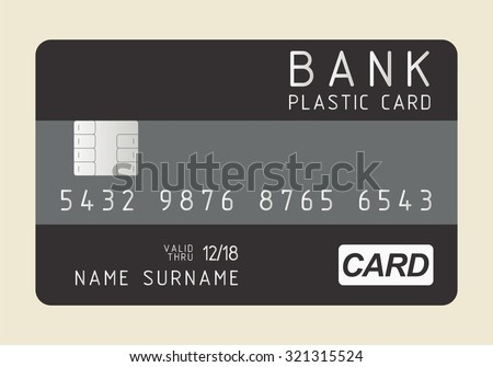 Credit card vector template. Correct shapes and sizes. Black bank plastic cards with the chip.  - stock vector