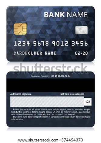 Credit Card with Abstract Polygon Pattern Vector illustration of black credit card isolated on white background - stock vector
