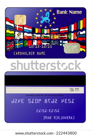 Credit Card with European Union Map. European Union country flags in vector - stock vector