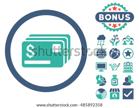 Credit Cards icon with bonus elements. Vector illustration style is flat iconic bicolor symbols, cobalt and cyan colors, white background.