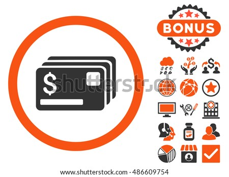 Credit Cards icon with bonus pictures. Vector illustration style is flat iconic bicolor symbols, orange and gray colors, white background.