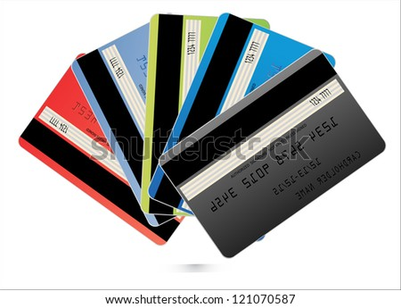 Credit Cards isolated on white. Vector Illustration