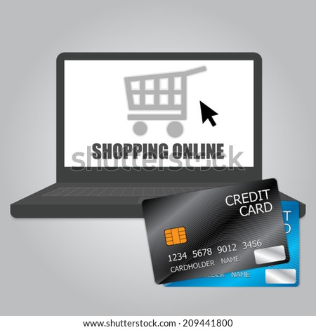 Credit Cards, Laptop, Shopping Online Concept Idea on Wood Background. Vector illustration.