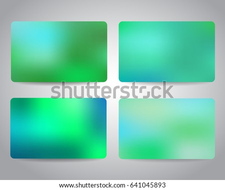 Credit cards or gift cards templates set with colorful mesh abstract design background. Blue, turquoise, green colors. Christmas gift cards design templates