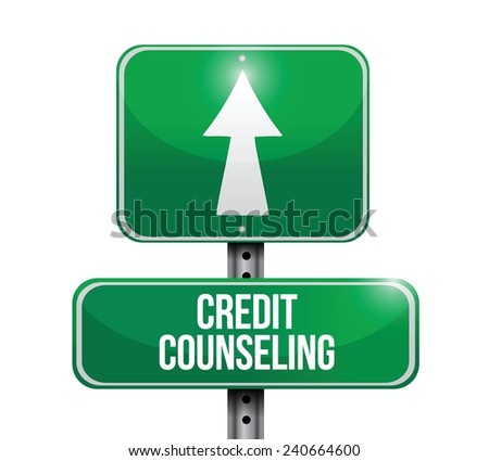 credit counseling street sign illustration design over a white background - stock vector