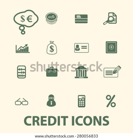 credit icons set, vector