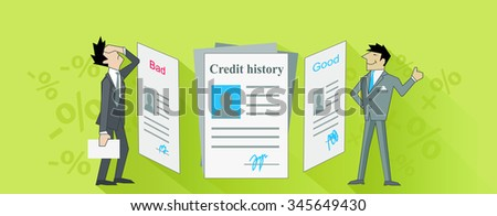 Credit istory bad and good. Credit score, credit report, credit rating, bank credit, finance score, business loan or debt, excellent budget, banking report, rating mortgage illustration - stock vector