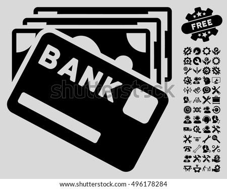Credit Money pictograph with bonus tools images. Vector illustration style is flat iconic symbols, black color, light gray background.