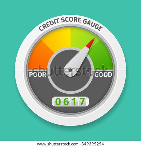 Credit score gauge good and bad rating, information financial rate, vector illustration - stock vector