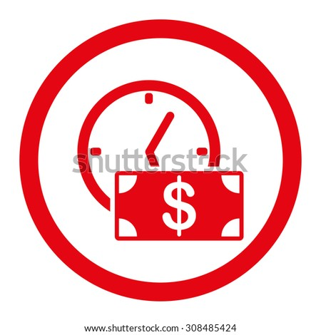 Credit vector icon. This flat rounded symbol uses red color and isolated on a white background. - stock vector