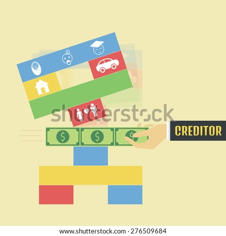 creditor pull money from the game, metaphor - stock vector