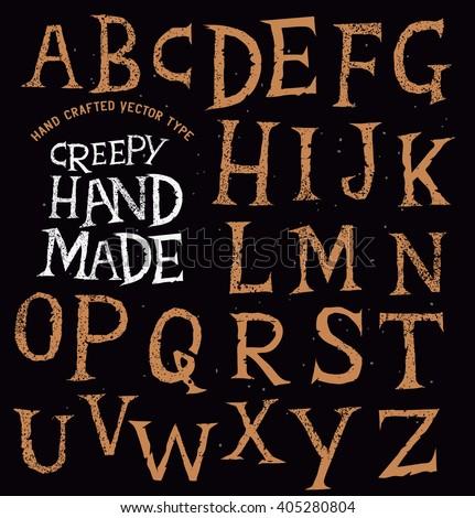 Creepy Ancient Handmade Lettering. vector illustration. - stock vector