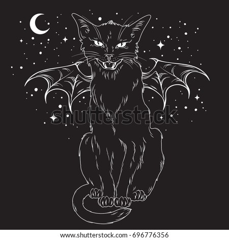 Creepy Black Cat Monster Wings Over Stock Vector 696776356 ...