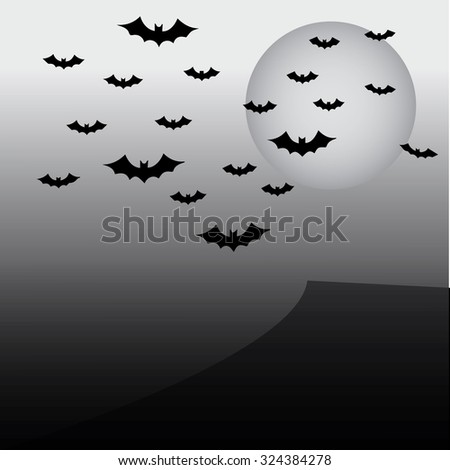 Creepy halloween background with bats flying in the moonlight   - stock vector