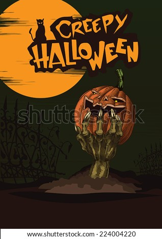 creepy halloween poster with hand of undead raising from the ground holding creepy halloween pumpkin - stock vector
