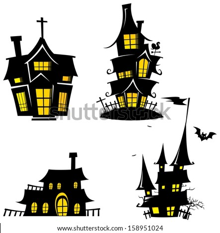 Creepy House Silhouette - Halloween Element Template Design Vector - stock vector