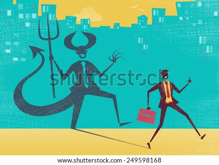 Creepy illustration of Retro styled Businessman who's shadow reveals him to be somebody quite sinister in the form of a Dancing Devil.  - stock vector