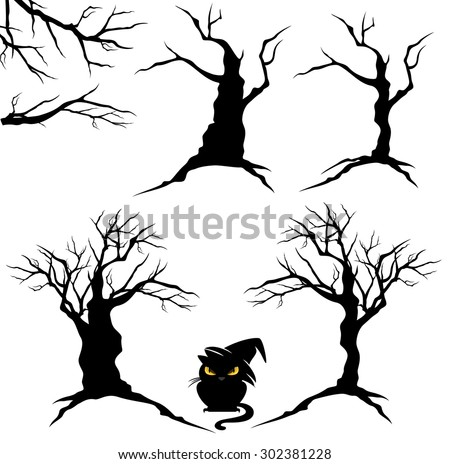 creepy trees with twisted trunks and branches black and white halloween vector design set - Black Halloween Tree