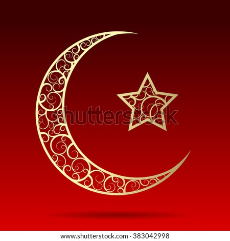 Crescent gold moon with star isolated on dark red background. Islamic design Ramadan Kareem greeting card. Vector illustration. - stock vector