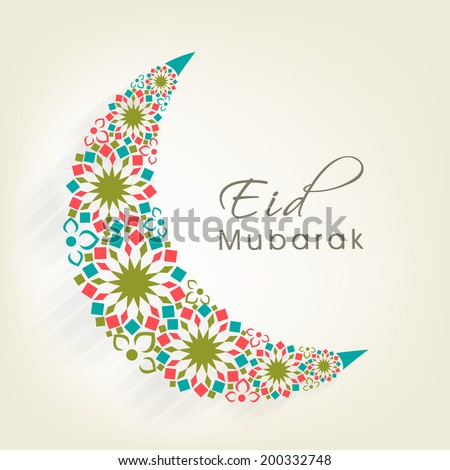 Crescent moon decorated with colourful flowers on beige background for muslim community festival Eid Mubarak celebrations.  - stock vector