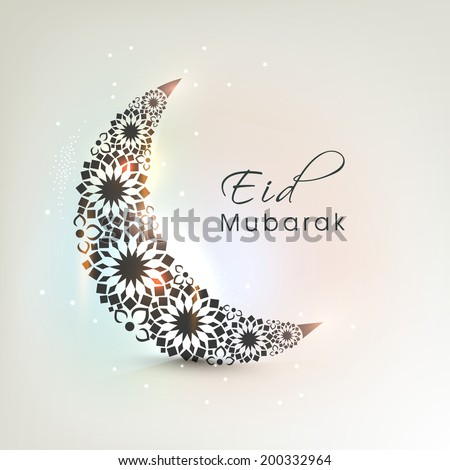 Crescent moon decorated with flowers on shiny colourful background for muslim community festival Eid Mubarak celebrations.  - stock vector
