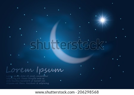 crescent moon into the night sky. vector background - stock vector