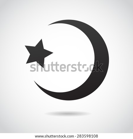 Crescent moon - islamic sign icon. Vector art. - stock vector