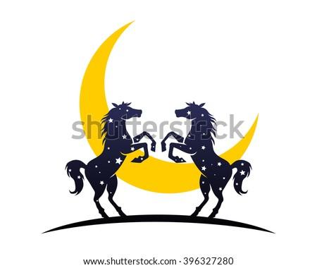 Crescent Moon Night Horses Stallion Mustang Stock Vector 396327280