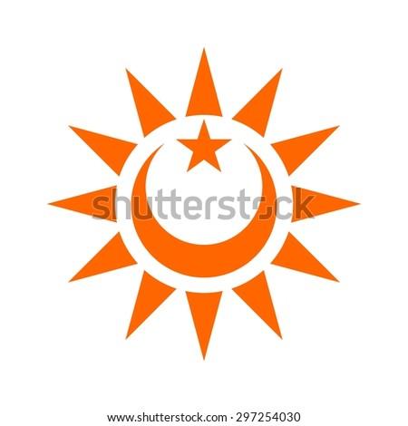 Crescent Moon Star Sun Icon Logo Stock Vector Royalty Free