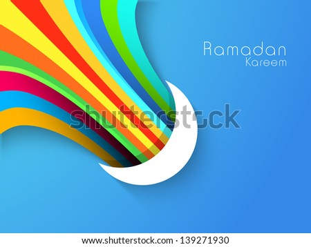Crescent Moon with colorful rays on blue background, concept for Muslim community holy month Ramadan or Ramazan. - stock vector