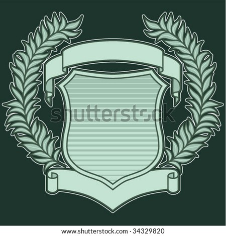 Crest with Wreath and Ribbons - stock vector