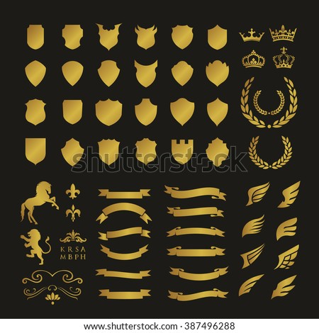 Crests logo element set.Heraldic logo,shield logo element,vintage laurel wreaths, heraldic icons - stock vector