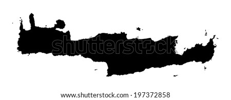 Crete vector map high detailed isolated. Black illustration on white background. Mediterranean island.  - stock vector
