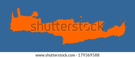 Crete vector map high detailed isolated. Orange illustration on see blue background. Mediterranean island. - stock vector