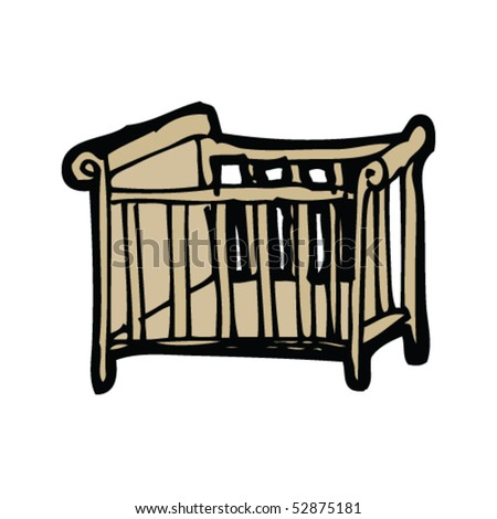crib drawing - stock vector