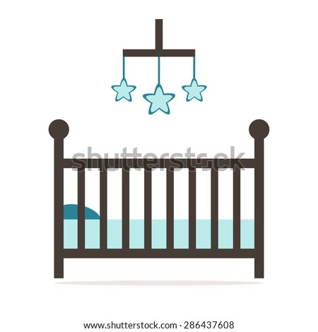 Crib isolated icon. Wooden cot on white background. Flat style vector illustration.  - stock vector