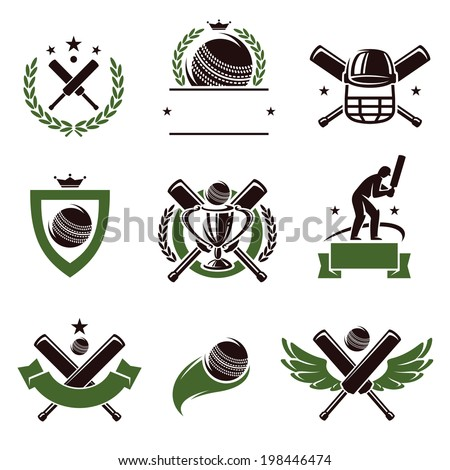 Cricket and soccer labels and icons set. Vector - stock vector