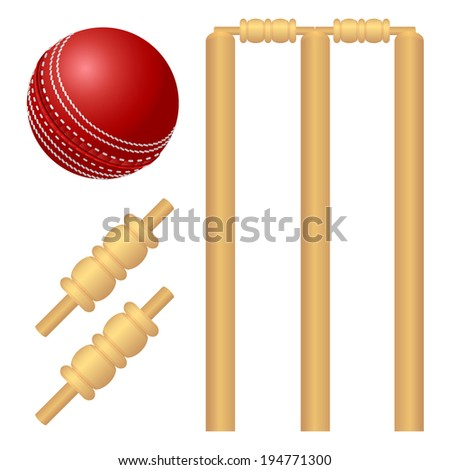 Cricket ball and stump illustration - stock vector