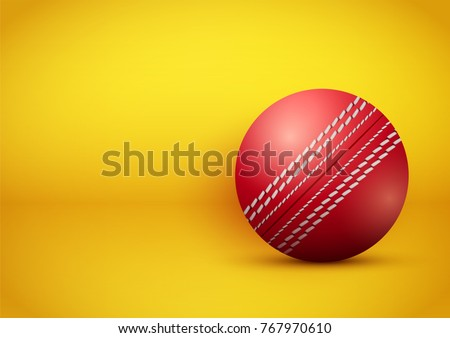 Cricket ball on bright orange background. Presentation backdrop of sport design. Vector Illustration.