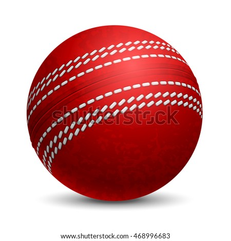 Cricket Ball. Sports equipment. Realistic Vector Illustration. Isolated on White Background.