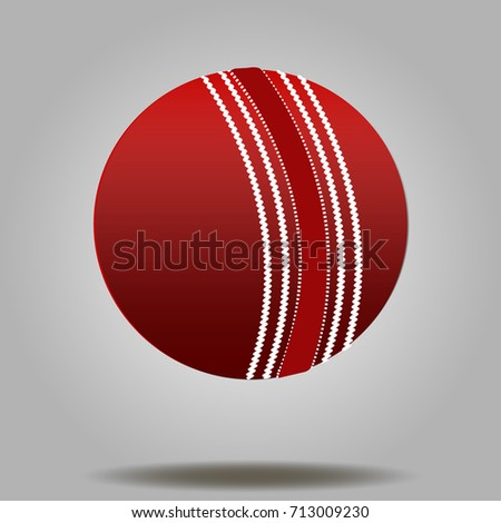 Cricket ball vector illustration with shadow below