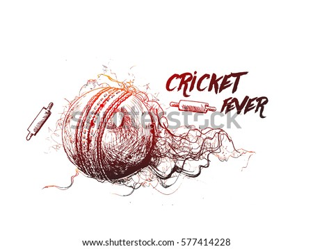 Cricket ball with bell freehand sketch graphic design, vector illustration
