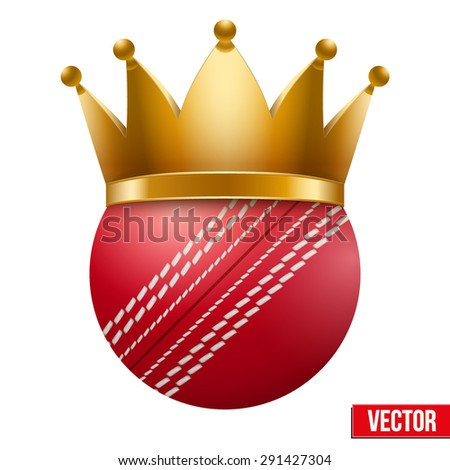 Cricket ball with royal crown. King of sport. Isolated Realistic Vector illustration.