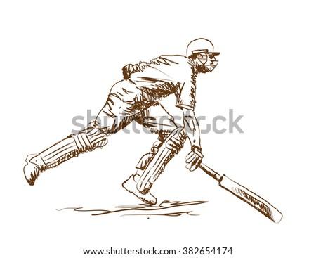 cricket batsman finishing line in vector sketch - stock vector