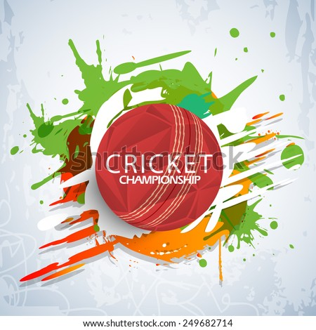 Cricket Championship concept with red stylish ball on colorful splash background. - stock vector