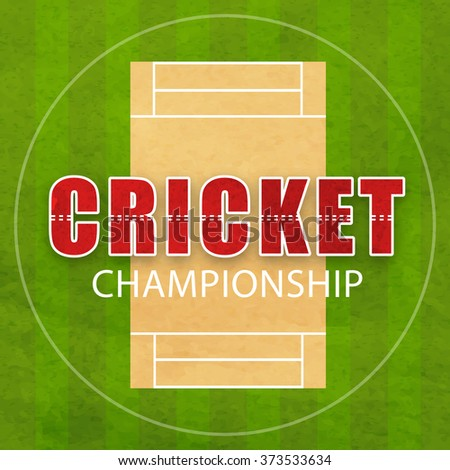 Cricket Championship concept with view of pitch on green background. - stock vector