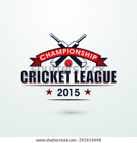 Cricket Championship League 2015 with bats and red ball, can be used as poster or banner design. - stock vector