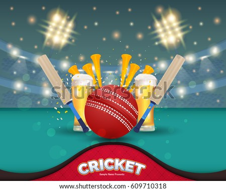 Cricket Event Poster Background, Vector Design and Typographic Sports Ad Web Banner or Info Horizontal Card Template, Ball, Stick and Stadium Illustration