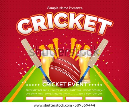 Cricket Event Poster Background, Vector Spotlights Banner Event Info Postcard Design and Typographic Sports Ad Web Banner or Card Template, Cricketer Ball, Stick Illustration