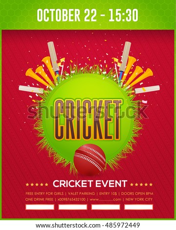 Cricket Event Poster Template Vector Background